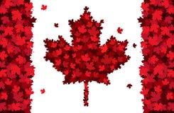 Iscrizione disegnata a mano di giorno felice del Canada Struttura delle foglie di acero fotografia stock