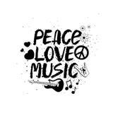 Iscrizione disegnata a mano di musica di amore di pace royalty illustrazione gratis