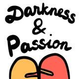 Iscrizione disegnata a mano di passione e di oscurità con abbracciare di due mostri royalty illustrazione gratis
