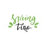 Iscrizione disegnata a mano di tempo di primavera Perfezioni la progettazione per le cartoline d'auguri e gli inviti Fotografia Stock