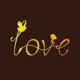 Iscrizione dorata d'annata di amore con gli uccelli Fotografia Stock