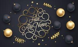 Iscrizione dorata di calligrafia di flourish di Feliz Ano Nuevo Spanish Happy New Year Navidad della progettazione della cartolin royalty illustrazione gratis