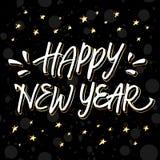 Iscrizione dorata e bianca 'buon anno' della mano illustrazione di stock