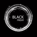 Iscrizione fatta a mano di vendita di Black Friday, calligrafia con la ghirlanda e fondo scuro per il logo, insegne, etichette, d Illustrazione Vettoriale