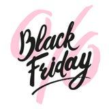 Iscrizione fatta a mano di vendita di Black Friday, calligrafia su fondo bianco per il logo, insegne, etichette, stampe, manifest Immagini Stock