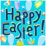 Iscrizione felice della mano del titolo del modello di progettazione della cartolina d'auguri di Pasqua Fotografie Stock Libere da Diritti