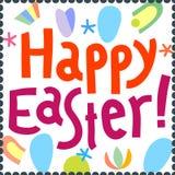 Iscrizione felice della mano del titolo del modello di progettazione della cartolina d'auguri di Pasqua Immagine Stock