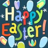 Iscrizione felice della mano del titolo del modello di progettazione della cartolina d'auguri di Pasqua Fotografia Stock Libera da Diritti