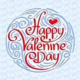 Iscrizione felice della mano di giorno di biglietti di S. Valentino Immagine Stock Libera da Diritti
