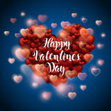 Iscrizione felice di calligrafia di giorno di biglietti di S. Valentino dei cuori rossi Fotografie Stock