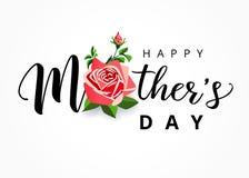 Iscrizione felice di festa della mamma con un bello fiore rosa illustrazione di stock