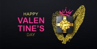 Iscrizione felice di giorno di biglietti di S. Valentino con il cuore di scintillio, il contenitore di regalo e la corona L'inseg royalty illustrazione gratis