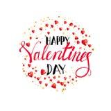Iscrizione felice di giorno di biglietti di S. Valentino con i cuori Fotografia Stock