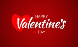 Iscrizione felice di giorno di biglietti di S. Valentino della carta di vettore con il cuore e la freccia Immagini Stock