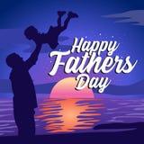 Iscrizione felice di giorno di padri con l'illustrazione illustrazione vettoriale