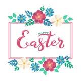 Iscrizione felice di Pasqua con la struttura del fiore della molla Immagine Stock Libera da Diritti