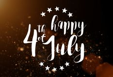 Iscrizione felice il quarto luglio con la bandiera di U.S.A. Immagine Stock Libera da Diritti