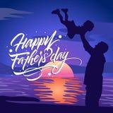 Iscrizione felice impressionante di giorno di padri con l'illustrazione royalty illustrazione gratis