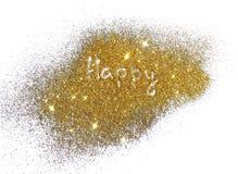 Iscrizione felice sulla scintilla dorata di scintillio su fondo bianco Fotografia Stock Libera da Diritti