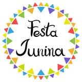 iscrizione Festa Junina Festa dell'America latina Iscrizione disegnata a mano isolata sui precedenti bianchi illustrazione di stock