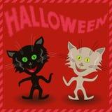 Iscrizione Halloween e due gatti in modo divertente Fotografia Stock Libera da Diritti