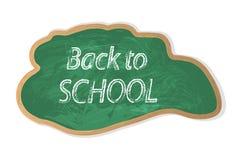 Iscrizione-indietro moderna alla scuola in gesso bianco su un bordo verde Royalty Illustrazione gratis
