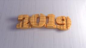 Iscrizione isolata di numeri del buon anno 2019 scritta da legno su fondo bianco illustrazione 3D fotografia stock