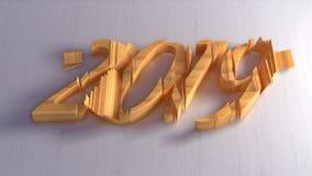 Iscrizione isolata di numeri del buon anno 2019 scritta da legno su fondo bianco illustrazione 3D immagine stock libera da diritti