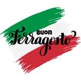 Iscrizione italiana della mano di festival di estate di ferragosto di Buon immagini stock libere da diritti