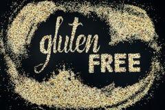 Iscrizione libera del glutine fatta della quinoa Fotografie Stock
