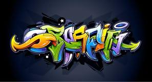 Iscrizione luminosa dei graffiti Fotografia Stock