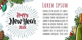 Iscrizione orizzontale 2018 di calligrafia del buon anno del manifesto con il saluto Fotografia Stock Libera da Diritti