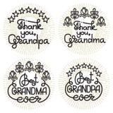 Iscrizione scritta a mano del nonno e della nonna Insieme di giorno dei nonni Fotografie Stock Libere da Diritti