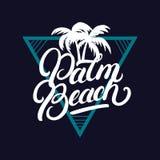 Iscrizione scritta mano del Palm Beach con le palme Fotografia Stock