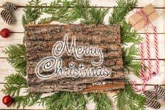Iscrizione scritta a mano di BUON NATALE Composizione in vacanza invernale Celebrazione di natale e di nuovo anno Vacanze inverna fotografia stock