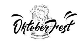 Iscrizione scritta a mano di Oktoberfest 2018 con le speranze Benvenuto all'approvazione illustrazione vettoriale