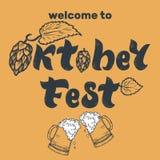 Iscrizione scritta a mano di Oktoberfest con le speranze Benvenuto a Oktober illustrazione vettoriale