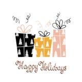 Iscrizione scritta a mano e regali di festa unica felice di feste Cartolina d'auguri moderna di inverno con i regali Illustrazion Immagini Stock