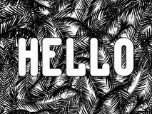 Iscrizione stilizzata di ciao dalle foglie di palma illustrazione di stock