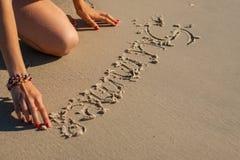 Iscrizione sulla sabbia Fotografia Stock