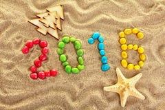 iscrizione 2016 sulla sabbia Fotografia Stock Libera da Diritti