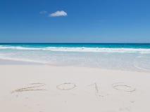 iscrizione 2016 sulla sabbia bianca Fotografie Stock Libere da Diritti