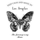 Iscrizione tipografica con la farfalla dell'acquerello Immagini Stock