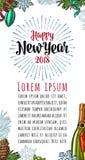 Iscrizione verticale 2018 di calligrafia del buon anno del manifesto con il saluto Immagini Stock