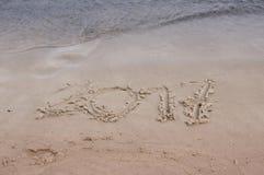 Iscrizioni nella sabbia nel 2017 Fotografie Stock Libere da Diritti