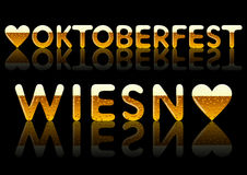 Iscrizioni Oktoberfest e Wiesn Immagini Stock