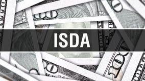 ISDA-Nahaufnahme-Konzept Amerikanische Dollar des Bargeld-, Wiedergabe 3D ISDA an der Dollar-Banknote Finanz-USA-Geldbanknote Han vektor abbildung