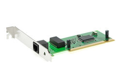 ISDN (or LAN ethernet) PCI adapter. Isolated on the white background Royalty Free Stock Photos