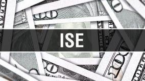 ISE Closeup Concept Dollars américains d'argent d'argent liquide, rendu 3D ISE au billet de banque du dollar Message publicitaire illustration libre de droits