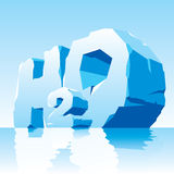 Ise water symbol H2O. Vector illustration of water simbol. Frozen letter H2O stock illustration